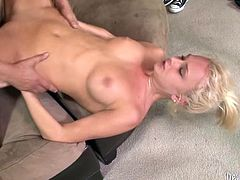 Skillful blonde tramp with fine booty easily takes black monster cock up her pink asshole balls deep. Whore gives awesome blowjobs and gets her slutty face covered with gallon of black jizz.