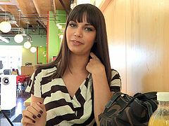 Pretty brunette Cory is having fun in a hot solo clip. She takes her t-shirt off and demonstrates her body for the camera in the street.