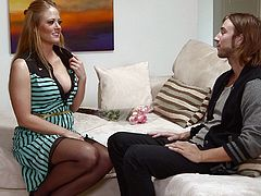 Mommy Holly is an experienced blonde that knows how to make a man feel good. She takes initiative with this one and makes him shut up and let her do all the hard work for him. Chad is a young boy so he listens to her and relax as she opens her sensual mouth and begins sucking his cock like a whore.