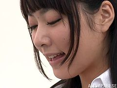 After class Kana Yume meets one of her students. She lets him open her blouse to see her perky and round boobs. They kiss hard and he pinches her nipples. She lets him finger her cunt and he sticks his hands down her pantyhose.