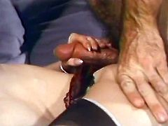 Two rapacious blondies give nice BJ to their common kinky friend