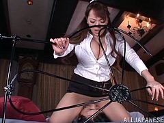 Huge boobs Hitomi likes to stay on top! The bitch grinds her pussy on this guy's face and then she rides his dick. Her gigantic breasts bounce up and down as she receives his dick as deep as she can in her pussy. Surely, she deserves a cum filled cunt, but wouldn't her breasts look even hotter cum glazed?