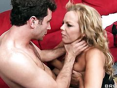 James Deen buries his sturdy meat stick in dangerously horny Amber Lynn Bachs mouth