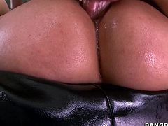 Look at her booty and those tight holes, that ask for cum! The Hispanic slut Bridget is a naughty one and she loves a big hard cock in her ass. Bridgette rides this guy like a pro and after sucking and ridding his dick, she receives a well deserved cum load in her vagina. Yeah, she's filled up with cum now!