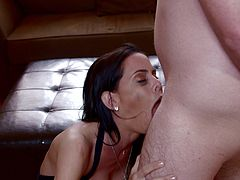 Make sure you have a look at Brandy Aniston's amazing body in this hot scene where this busty milf deep throats a big cock before this guy cums in her mouth.