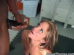 Team of monster black cock fuck hot blonde whore. The next thing she knows she's on her knees and there's close to 30 inches of black dick looking for a way into all her pretty holes.