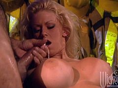 Gorgeous blonde Jenna Jameson is having fun with her dead hubby's buddy in hot reality sex vid. She pleases the guy with a blowjob and then lets him fuck her cunt in many positions.