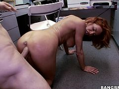 Veronica is going to the storage room in the office building to grab some supplies but when she comes back out she has a lot more than that; she has a big load of jizz in her stomach. She fucks like crazy with one of her coworkers and then takes cum all over her face after taking cock in her face and mouth.