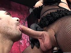 Tranny Luana has a big hard cock and she loves to fill her boy's mouth with it. She gets it sucked and her balls too! Look at this dude sliding his lips on her penis and enjoying every inch she has to offer. Maybe Luana has a big warm load of semen prepared for his lips!