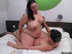 Fatty Game brings you a hell of a free porn video where you can see how a busty bbw brunette sucks and rides a hard cock while assuming very hot poses til she cums.