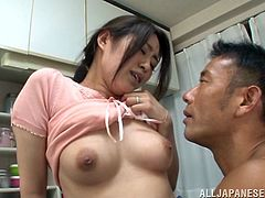 She is a filthy Japanese wife that loves seducing her husband in the kitchen! Dinner was good and her pussy is a special desert!