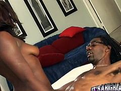 Hot tempered fuck starving ebony girlie wants to snatch her tasty cooch with massive pecker of her BF. She harshly jumped on it and set to ride it in cowgirl way. Have a look at this hot wench in My XXX Pass porn clip!