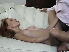 Redhead Nataly Von sucks like no other and hard dicked dude knows it
