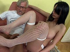 Enjoy busty beauty having rough sex with her horny step dad