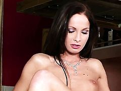 With tiny tits and trimmed beaver plays with herself to orgasm in solo action