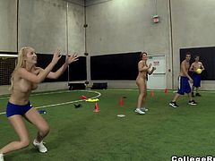 Happy cheerleaders get off their bras and bikinis and do some practice, playing ball in an indoor football field. Coach and other guys watch them from the distance. But girls get tired quickly and change their activity! Two blonde bitches begin to share a cock. What is going to happen with the rest of the team?