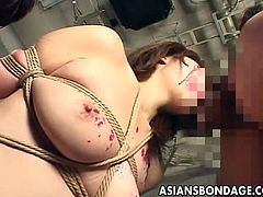 Checkout this sexy brunette Japanese babe in this hot bondage video.See how this sexy big titted babe is tied and gets her mouth fucked by these two horny Jap studs.
