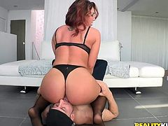 A curvy whore such as Fox needs a big hard dick to reach satisfaction. The redhead puts her booty on this guy's face and gives him a taste of it before kneeling to suck his huge dick, She knows how to give a proper head but let's see if she can handle that big dick in her curvy booty! Enjoy!
