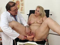 A simply gyno exam turns wild for this naughty granny