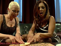 Check out these super hot lesbians in a nasty femdom action. The blonde is bounded and receives hardcore pumping with a huge strapon!