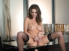 Emily Addison with huge tits and clean muff masturbating for your viewing entertainment