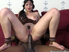 Share this with your friends! Watch a brunette babe in pigtails, with a nice ass wearing an indigenous costume, while she has an interracial threesome.
