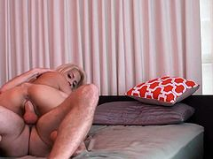 Smoking hot blondie Alice Amore gets pokes on her side from behind `