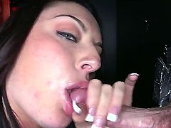 Watch nice gloryhole fellatio from magnetic and so sexual babe Nikki Lavay. Babe is exposing delights, taking tool into mouth and sucking it like a tasty lollipop.