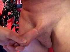 Husband and wife play around with bondage and squirting. Wife tortures him waxing his cheasts and his small dick