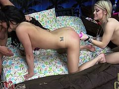 Brunette beauty Kyleigh Cross gives blowjob to one lucky fucker. Ash Hollywood takes a ride on boy's face while Kyleigh Cross tops his fat dick in cowgirl pose.