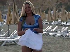 Striking Alison Angel Takes Her Clothes Off On The Beach