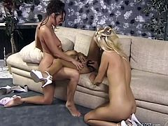 Get a load of this great lesbian scene where these horny ladies make you pop a boner as they have a lesbian threesome like never before.
