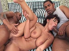 Look at Veronica, this bitch deserves to be known! With a pair of big, perfect boobs that bounce like crazy when she rides cock, sensual lips that are perfect for cock and a talent in fucking big black dicks, Veronica is surely gonna make a name for herself. She's stuffed by these guys and loves it. Squirting is coming!