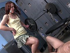 Have fun with this hot scene where the horny Cheyenne Jewel makes this guy lick on her feet before sucking his hard cock in a locker room.