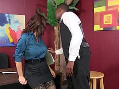 Touch yourself watching this brunette MILF, with giant tits wearing sexy glasses, while she has interracial sex and controls the whole situation!