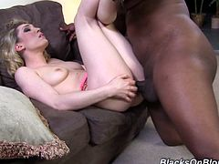 Have a good time watching this blonde babe, with natural breasts wearing high heels, while she goes really hardcore in a reality video.