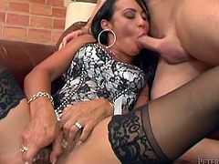A motherfuckin' dirty-ass dumb whore gets a fuckin' hard cock shoved balls deep into her stupid-ass pussy. Check it out!