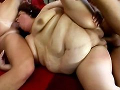 What are you waiting for? Watch these chubby mature lady, with big nipples and a shaved cunt, while she gets pounded hard in a wild threesome.