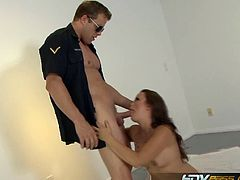 Horny cop whacking bubble butt blonde whore. This is the kind of punishment she is open to enjoy to the extremes. She submits to his every whims in this encounter.