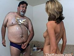 Have fun watching this fat man getting his cock sucked and licked by a blonde cougar. He loves having sex covered in food and get really messy.
