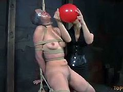Brunette slave screams for pleasure. Things do not start off very well for her. In the beginning her mouth is going to be the focal point but by the end her tits will have taken more of a punishment.