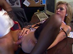 Awesome blonde Brooke Banner is having fun with some man in an office. They fondle each other and then Brooke moves her legs wide open and gets her pussy drilled in missionary position.
