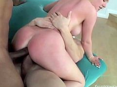 This busty light haired hoe rode black massive penis in reverse cowgirl pose. Meanwhile the other kinky man passionately pounded her mouth. Look at this dirty FMM fuck in Fame Digital sex video!