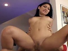 Captivating brunette Roxy Jezel gives a great blowjob to her man. Then they fuck in missionary position and have anal doggy style sex and seem to be unable to stop.