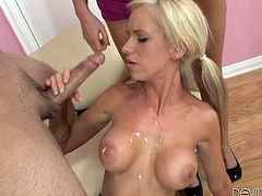 Take a look at this hardcore scene where this lucky bastard has a threesome with his hot girlfriend and her cock thirsty mom.