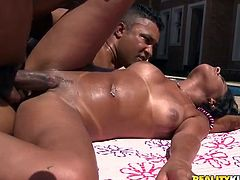 Porn video with a glorious Brazilian chick Leona Yamamotot! She is a horny one and her delicious body gets balled by the pool.