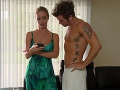 Touch yourself watching this blonde MILF, with giant jugs wearing tiny shorts, while she goes really hardcore with a tattooed fellow.