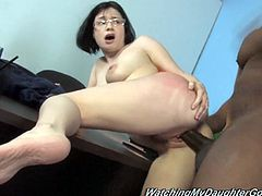 Nice Tatianna Kush gets banged by a Black guy in an office