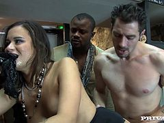 Get excited watching this brunette babe, with natural boobs wearing nylon stockings, while she goes hardcore with a bunch of horny guys.