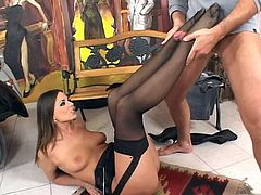 This slutty fuckin' bitch sucks on a hard cock and then gets it shoved balls deep into her fuckin' tight asshole. Check it out right here!